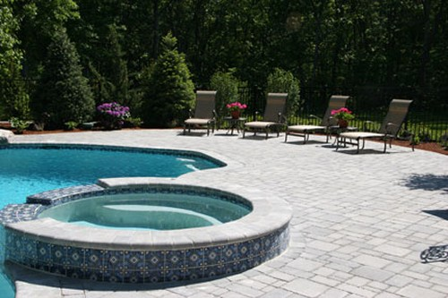 Pool with Spa, Patio and Hardscape by New View