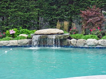 Pool Design with waterfall and landscape construction by New View