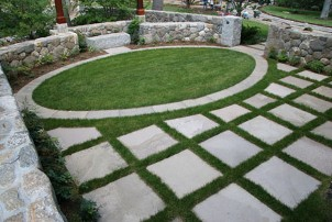 Bluestone patio courtyard with stone walls