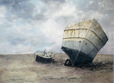 Beached, Watercolor by Doug DeWolfe