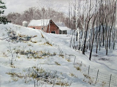 Snowy Pasture, Watercolor by Doug DeWolfe