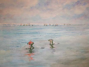 Clam Diggers, Watercolor by Doug DeWolfe