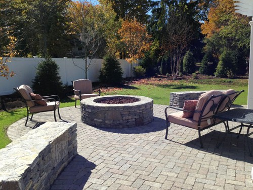 Fire Pit with Sitting Wall, Patio and Landscape by New View