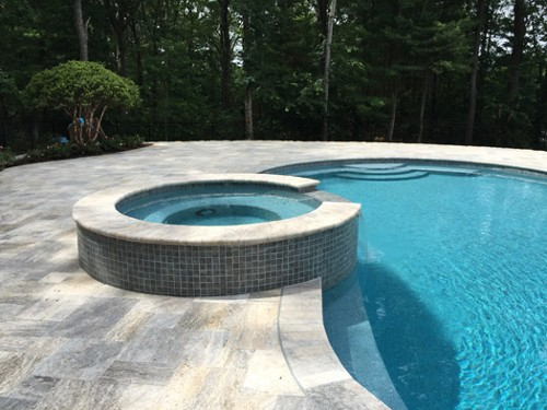 Spa with Mosaic Tile, Travertine Patio and Free Form Pool Design by New View