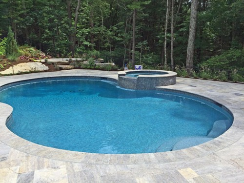 Kidney Shaped Pool with Tile Faced Spa and Travertine Deck by New View
