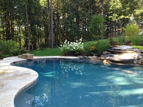 Free Form Pool, Diving Rock, Waterfall and Landscape design and Construction by New View