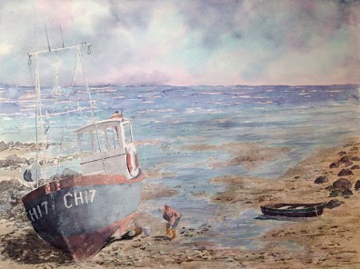 CH 17 Beached, Watercolor by Doug DeWolfe