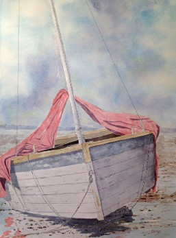 Sail Boat at Rest, Watercolor by Doug DeWolfe