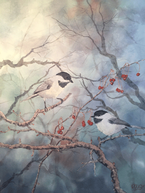 Chicadee Watercolor by Doug DeWolfe of New View