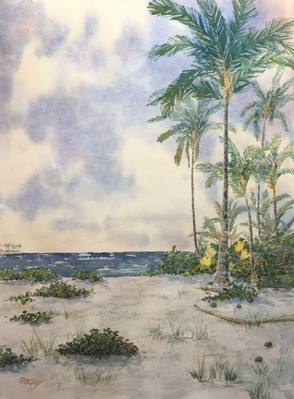 Private Beach Watercolor by Doug DeWolfe of New View
