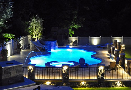 Free Form Pool with Fountains& Lighting by New View