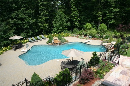 Free Form Sunken Pool with Double Waterfalls Design and Construction by New View